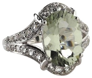 Victoria Wieck Victoria Wieck 4.92ct Prasiolite and White Topaz Sterling Silver Ring - Size 8