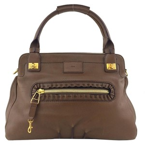 Chloé Gold Hardware Logo Satchel in Brown