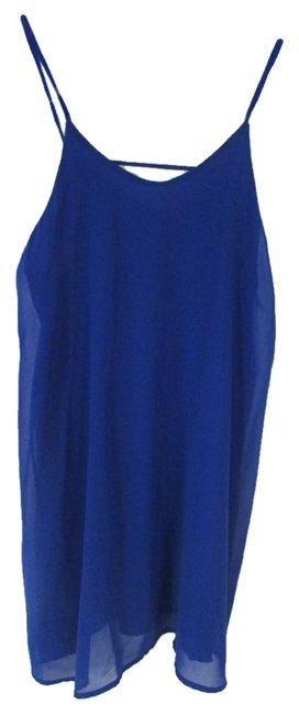 Item - Blue Solid Spaghetti Strap Sundress Above Knee Short Casual Dress Size 12 (L)