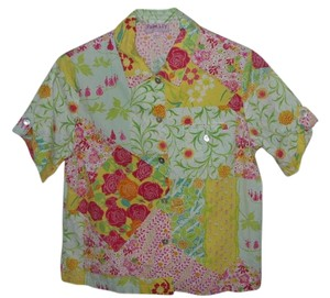 Palm Lily Button Down Shirt Multi Color Flowers
