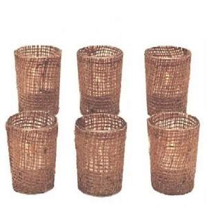 Brown Lot Of 60 Burlap Votive Holders Burlap Candle Holders New Free Ship Reception Decoration
