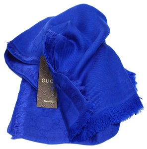 Gucci Gucci Women's Royal Blue Wool Silk GG Guccissima Scarf 307245