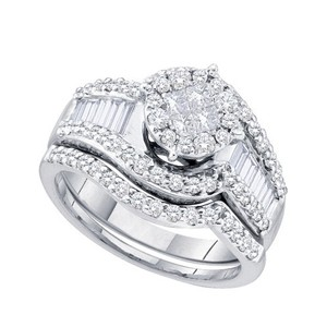 Luxury Designer 14k White Gold 1.25 Cttw Soliel Diamond Engagement Ring Bridal Set