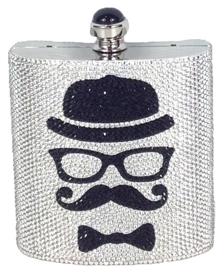 Preload https://img-static.tradesy.com/item/16760587/judith-leiber-couture-flask-mustache-silverblack-silver-crystal-clutch-0-1-540-540.jpg