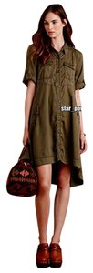 Anthropologie short dress Green Black Military Swing High-low on Tradesy