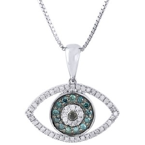 Jewelry For Less 10k White Gold Round Genuine Blue Black Diamond Evil Eye Pendant Charm 0.55 Ct