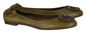 Tory Burch Reva Tumbled Tumbled Leather Olive Green Flats
