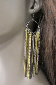Other Women Pewter Long Metal Fashion Earrings Set Gold Chains Silver Rhinestones