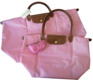 Longchamp Shoulder Large Travel Pouch Tote in pink