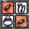 Other 2PC Vintage Style White Sapphire and Black Gold Filled Wedding Ring Set Image 2