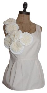 Anthropologie Floral Summer Rosette Applique Floreat From The Meadow Top BEIGE