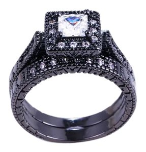 Other 2PC Vintage Style White Sapphire and Black Gold Filled Wedding Ring Set