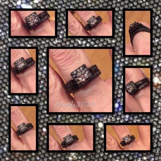 Other 2PC Vintage Style White Sapphire and Black Gold Filled Wedding Ring Set Image 3