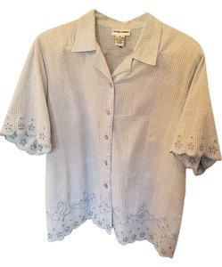 Alfred Dunner Button Down Shirt Blue/White