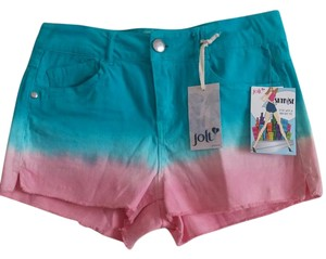 Jolt Cut Off Shorts Teal/Pink