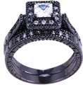 Other 2PC Vintage Style White Sapphire and Black Gold Filled Wedding Ring Set Image 0
