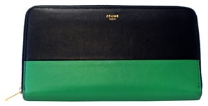 Céline Celine Double Zippy Wallet Black Emerald Long Bifold Leather Flap *Sold Out*