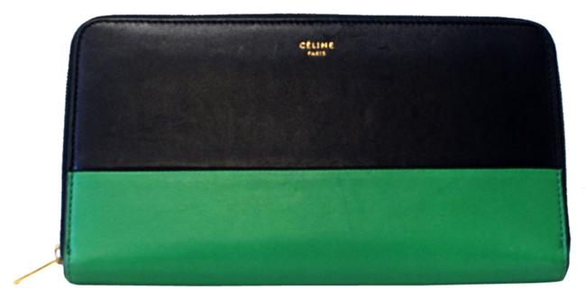 Item - Black Zippy Double Emerald Long Bifold Leather Flap *sold Out* Wallet