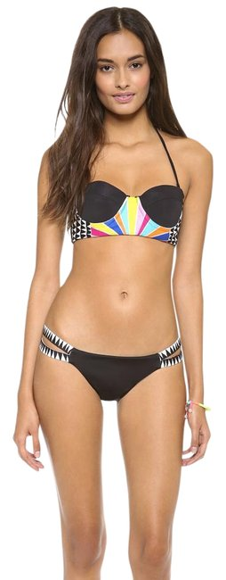 Item - Black Rainbow W Embroidered Bustier W/Removable Straps Bikini Top Size 4 (S)