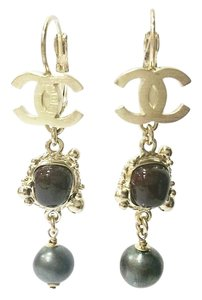 Chanel Authentic Chanel Gold CC Framed Stone Pearl Dangle Long Lever Back Loop Piercing Earring