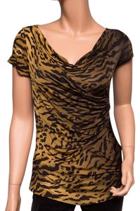 Max Mara Animal Print Evening Cowl Top Multi-color