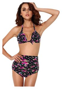 New Black Sexy Plus Size 2 PC Floral High Waisted Retro Bikini Bathing Suit