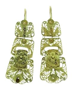 Other 14 karat yellow gold Mexican filigree dangle earrings