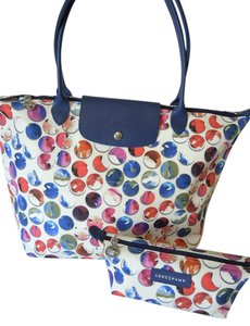 Longchamp Large Flap Clutch Tote in blue multi