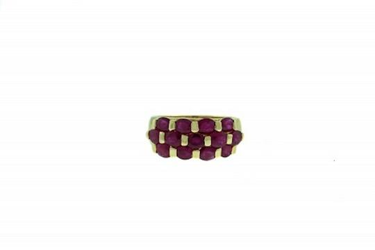 Other STUNNING - 14 karat yellow gold 2 carats total weight oval ruby 3-row band Image 1