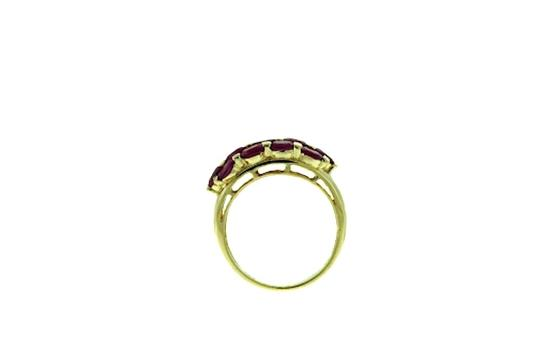 Other STUNNING - 14 karat yellow gold 2 carats total weight oval ruby 3-row band Image 2