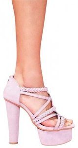 Nasty Gal Platform Strappy Braided Purple Heel Sky High Tall Spring Summer Lilac Sandals