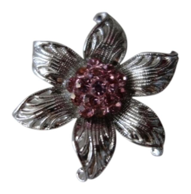 Item - Pink and Silver Crystal Broach