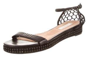 Nina Ricci Leather Woven Studded Black Sandals