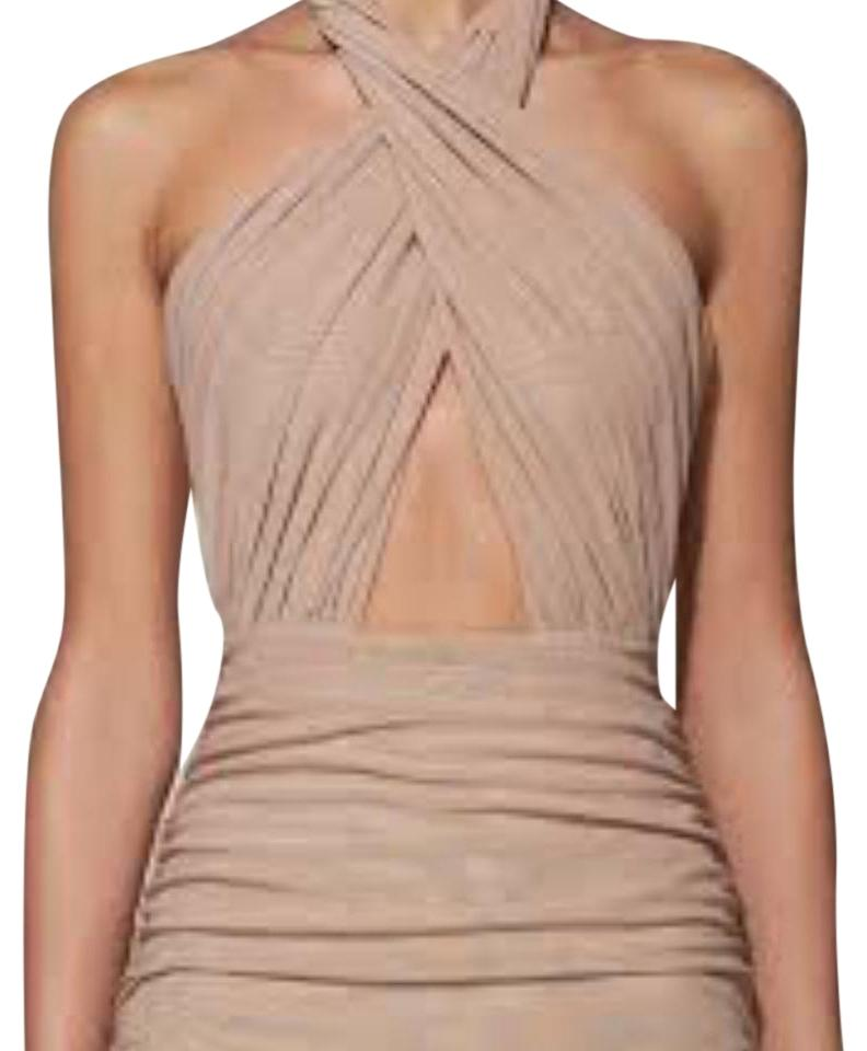 7abb2fbd3a05 Misha Collection Nude Keziah Knee Length Cocktail Dress Size 0 (XS ...