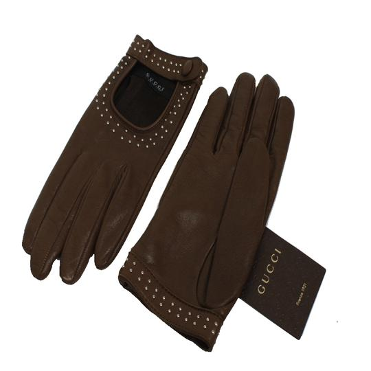 Gucci Gucci Women's Studded Leather Riding Gloves 370649 OS