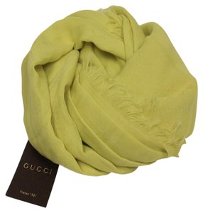 Gucci Gucci Women's Fringe Yellow Cotton GG Guccissima Scarf 371482