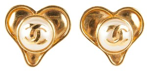 Chanel Gold Heart Clip On Earrings Featuring a Pearl Center with Classic CC Logo