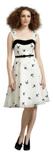 Anthropologie Velvet Belted Birds Retro Dress
