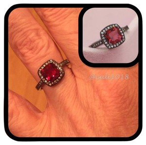 Other Elegant Red Sapphire 18k Black Gold Filled Ring Sz 7