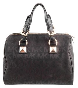 Michael Kors Monogram Satchel in black