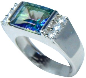 Other Mystic Blue Quartz Emerald Cut Sterling Silver Ring In an Bar Setting