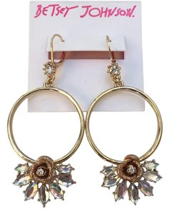 Betsey Johnson Gypsy Hoop Earrings Luminous Glitter Rose Crystals