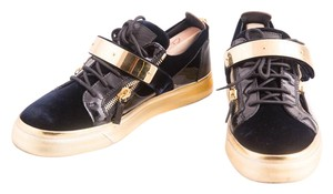 Giuseppe Zanotti Navy Velvet Low Top Sneakers Mens Navy/Gold Athletic