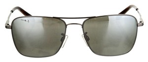 Jil Sander Gunmetal Jil Sander square frame sunglasses with tortoise shell accents and reflective lenses