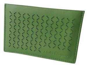 Salvatore Ferragamo SALVATORE FERRAGAMO DRILL PERFORATED LEATHER CARD CASE
