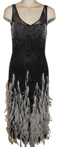 Yigal Azrouël Silk Beaded Feathers Dress