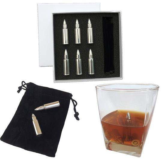 Chrome Deluxe Box Set 6 Pieces Stainless Steel Whiskey Whisky Stone Bullet Style Ice Cube W Box & Bag Favor Gift