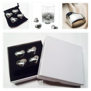 Chrome Deluxe Box Set 6 Pieces Stainless Steel Whiskey Whisky Stone Heart Shape Love Style Ice Cube W Box & Bag Favor Gift