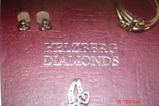 Helzberg Diamonds HELZBER DIAMOND HEARTS/EARRINGS, PENDANT & RING SZ 7 STERLING SILVER