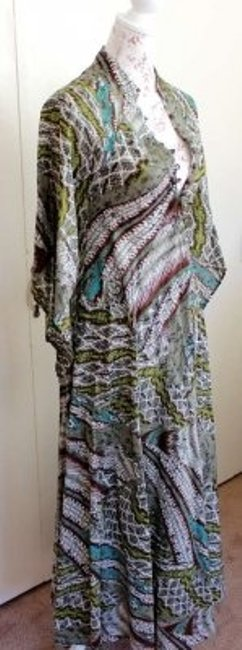 Multi Color Maxi Dress by TYSA Deep V-neck Long By Print Bohemian Look